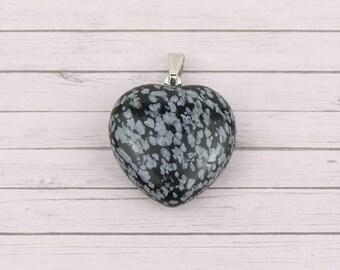 Snowflake obsidian charm • Gemstone pendant • Gemstone heart charm • Obsidian heart charm • Black stone charm • Stone heart charm