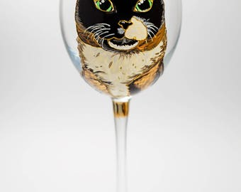 Custom Cat Wine Glass, Pet Gift Portrait from Cat Photo, Personalized Pet Loss Gift, Hand Painted Wine Glasses, Custom Pet Portrait