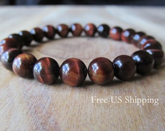 8mm Red Tiger Eye Bracelet, Gemstone Bracelet, Natural Stone Bracelet, Gift for Her,  Gift for Him, Mens Bracelet, Yoga Jewelry