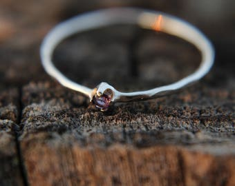 Sterling silver hammered stacking ring with 2mm amethyst