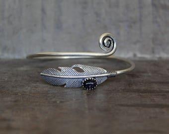Feather Bangle Bracelet with Blue Sunstone - 925 Silver