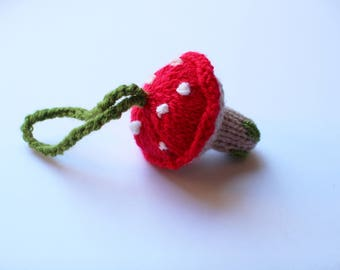 Cute Knitted Toadstool Keyring/Decoration