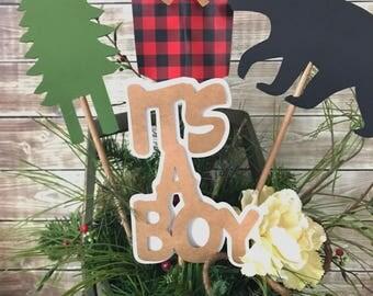 Lumberjack Party Centerpiece, Lumberjack Baby Shower Centerpiece, Buffalo Plaid Party Decorations