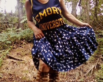 FLORAL SPORTS DRESS Upcycled Dress Recycled Dress Floral Dress Hippie Dress Boho Dress Beach Dress One of a Kind *Emory University