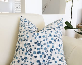 Cushions, Pillows Blueberry Cushion Cover,  Blue and Grey Pillow, Seaglass Cushion Cover Decorative Toss Pillows, Scatter Cushion Cover