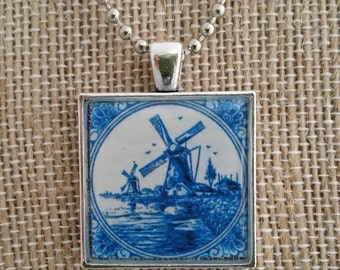 Delft Windmill Pendant Necklace