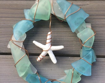 Small sea glass wreath with starfish center