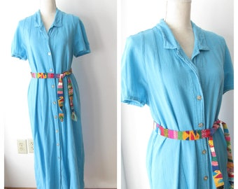 Vintage 80s Island Seas Dress/ 1980s Turquoise Crinkle Cotton Gauze Dress / Boho Peasant Dress/ Button Up Down Dress/ size M