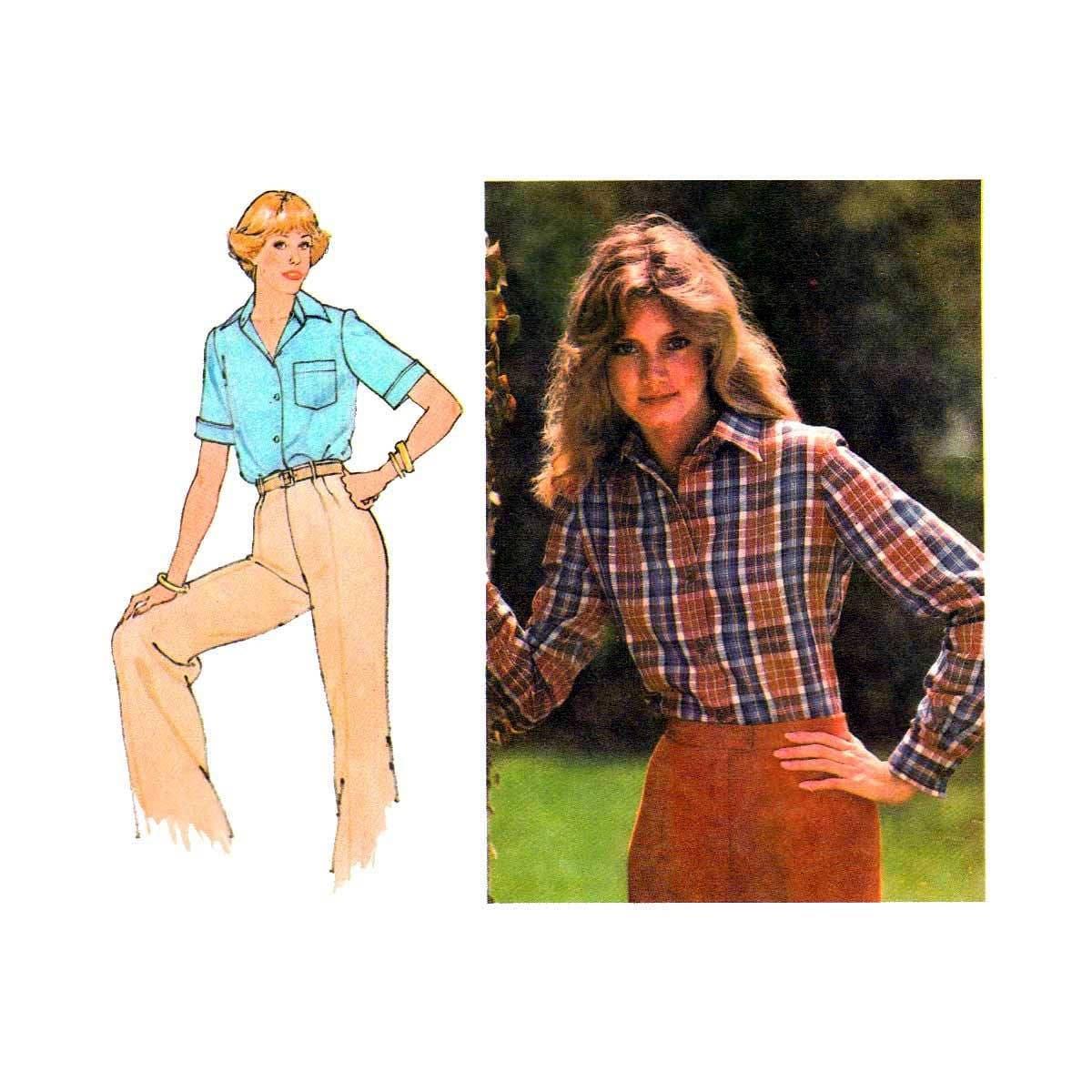 Damen Shirt Schnittmuster vorne geknöpft mit Kragen lange