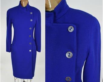 80s Krizia Poi Royal Blue Knit Wool Dress w Asymmetrical Styling & Silver Buttons // Dramatic Avant Garde Designer High Fashion