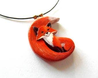FOX MOON pendant / handcarved on walnut wood