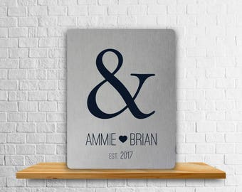 Custom Tin Art Print, Personalized 10 Year Anniversary Gift, Unique Bridal Shower Gift, Ampersand Art Print, Aluminum Plaque, Custom Art