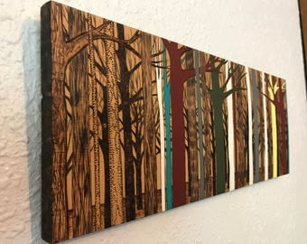 Woodburned and Painted Forest