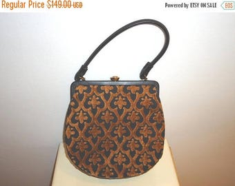 The Sale Is On Sale Beautiful Vintage Tapestry/Leather Frame Handbag/Purse and Coin Purse