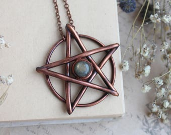 Pentagram necklace Pentacle necklace Wiccan jewelry Witch pendant Occult necklace Pagan jewelry Labradorite occult Pentagram jewelry Goth