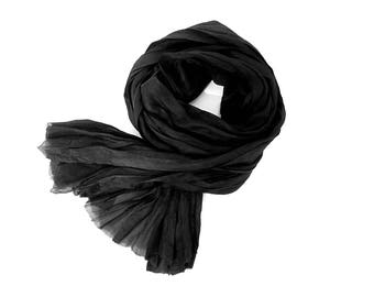 Soft Black Silk Scarf Hand Dyed, Long Black Scarf, Minimalist, Lightweight Scarf, Mens Womens, Spa Travel Gift, 2 sizes, Small Black Scarf