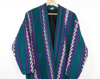 woven cotton blanket jacket - vintage - guatemalan ikat - teal - open front