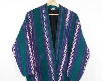 woven cotton blanket jacket - vintage - guatemalan ikat - teal - open front