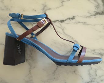 Sandals TOD's Brown and blue, size 40, t strap heels