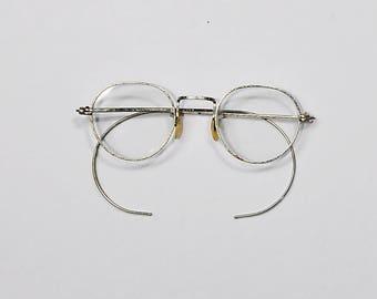 Vintage Eye Wear Accessories Glasses Frames Silver Metal Mother of Pearl Nose Rests