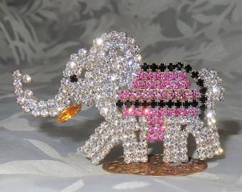 Czech Vintage Miniature Circus Elephant Pink Rhinestones