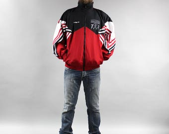 90s Red Windbreaker . Vintage Blue White Striped Athletic Track Jacket . Zip Up Bomber Men's Tracksuit Jacket . Unisex Sports Blazer Large L