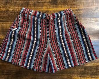 Comfy Woven Shorts: Sepia Stripe