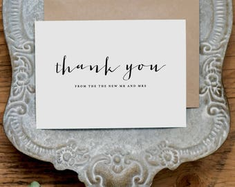 5 x Thank you from the New Mr & Mrs - Wedding Thank You Card - Newlyweds Wedding Card, Wedding Thank You Cards, Wedding Guest Thank You, K4
