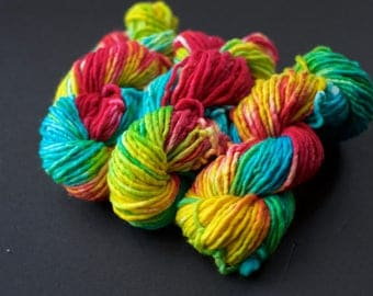 Hand dyed bulky yarn - Superhero Ice Cream - turquoise pink yellow - squishy - single ply - quick knitting yarn - soft - super wash merino