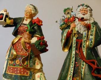Nature's Santa and Mrs Claus. Danbury Mint. Vintage, Rare Porcelain Figurines