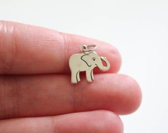 Sterling Silver Elephant Charm, Elephant Charm, Sterling Silver Elephant Pendant, Elephant Pendant, Safari Charm, Baby Elephant Necklace