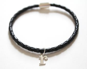 Leather Bracelet with Sterling Silver Typewriter R Letter Charm, Bracelet with Silver Letter R Pendant, Initial R Charm Bracelet, R Bracelet