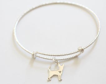 Sterling Silver Bracelet with Sterling Silver Chihuahua Charm, Chihuahua Charm Bracelet, Chihuahua Dog Bracelet, Tiny Chihuahua Bracelet