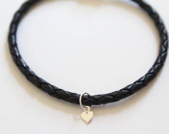 Leather Bracelet with Sterling Silver Tiny Heart Charm, Tiny Heart Charm Bracelet, Little Heart Bracelet, Tiny Heart Bracelet, Heart