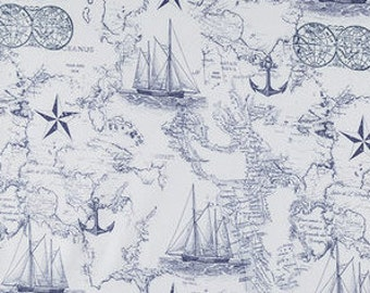 Nautical Map Fabric 100% Cotton Quilting Apparel Crafts Home decor