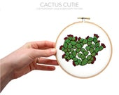 March Pattern Contemporary Embroidery PDF by Sarah K. Benning - #SKBDIY Monthly Pattern Program: Single Month PDF Download - Cactus Cutie