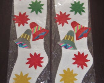 Set of 2 Vintage Christmas Felt Stockings in Original Package - Japan