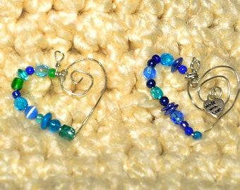 Heart Shaped Glass Blue and Green Bead Pendant