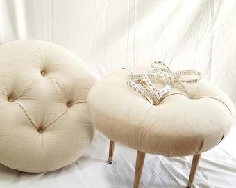 overstuffed & tufted Linen ottoman- seat
