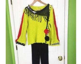 Artsy Sweater Distressed Pullover Embellished Sweater Boho Sweater Fringe Top Refashioned Sweater Upcycled Sweater Wearable Art Warm Sweater