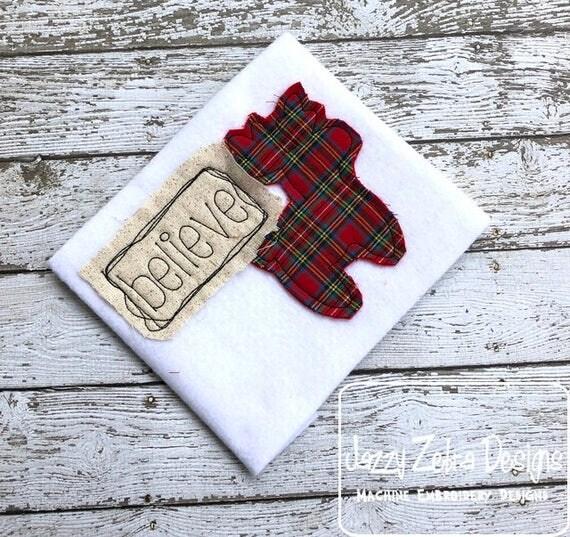 Believe Reindeer Shabby Chic applique embroidery design - Christmas appliqué design - Reindeer applique design - believe appliqué design