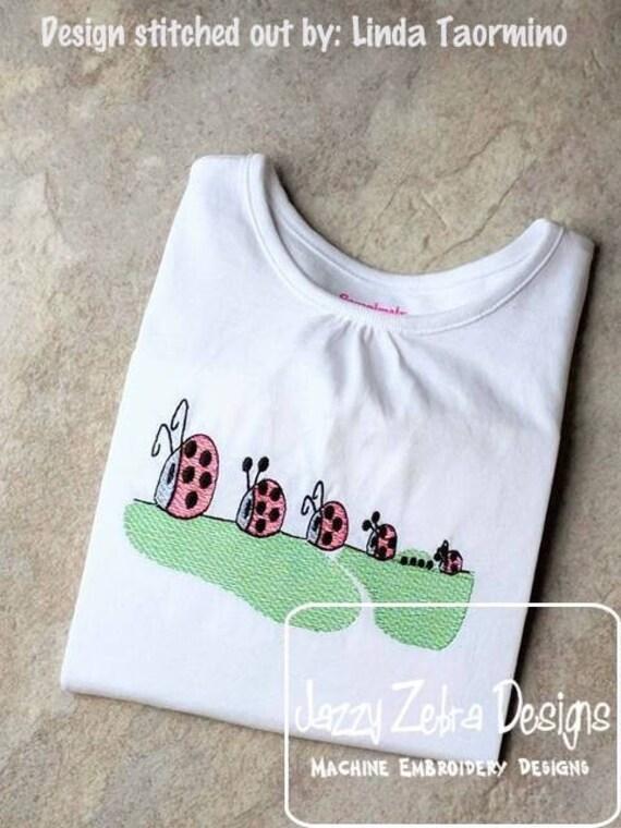 Lady Bug parade sketch embroidery design - ladybug embroidery design - lady bug embroidery design - lady bugs embroidery design - bug design