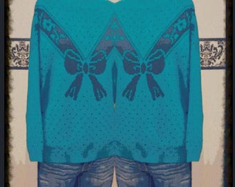 1980's Turquoise Bow Oversize Hipster Sweater by Dana Scott, Plus Size, Large XL, Vintage 1980's Preppy Baggy Knit Sweater, Breakfast Club S