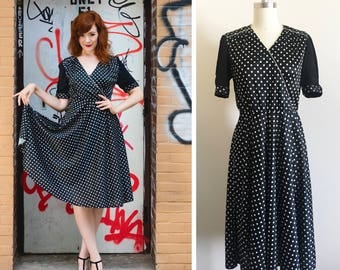 Vintage 1970s does 1950s Black and White Polka Dot Wrap Swing Full Circle Dress Size L / XL