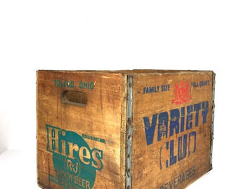 Vintage Wood Crate Hires Root Beer Wood Crate Old Wooden Variety Club Wooden Soda Crate Wood Crate Hires Root Beer Crate Toledo Ohio