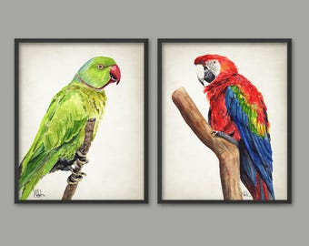 Parrot Watercolor Wall Art Print Set of 2, Scarlet Macaw & Rose-Ringed Parakeet Bird Painting, Tropical Birds Home Decor Animal Nursery B719
