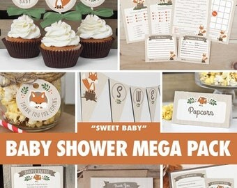 SALE Woodland Baby Shower Mega Pack // INSTANT DOWNLOAD // Gender Neutral Fox Baby Shower Games & Decorations // Printable Bs03