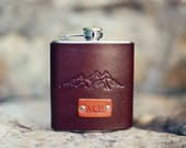 Custom Leather Flask, Personalized, Gift for Dad, Gift for Husband, Brother Gift, Mens, Hip Flask Groomsman, best man. Mountains, wanderlust