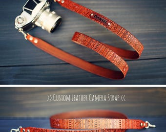 Custom Camera Strap, camera strap, leather camera strap, personalized, Cross body, Aztec, Tribal, Choose color, stamp, text, name, initials