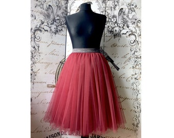 cherry tulle skirt, bordo outfit skirt, wine red tulle skirt for women party skirt gift for her handmade red tutu bridal shower tulle skirt